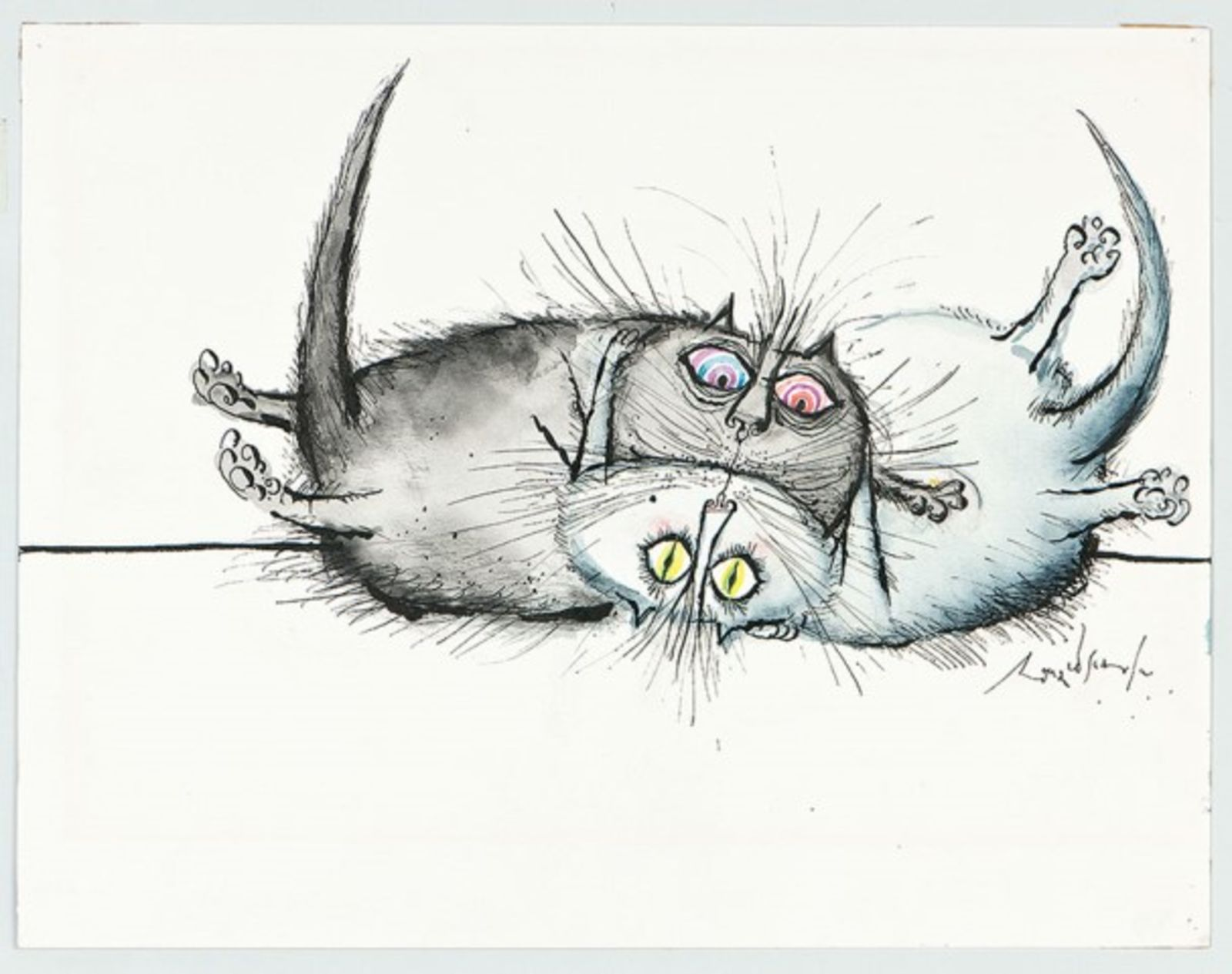 Ronald Searle: Two cats quite calmly